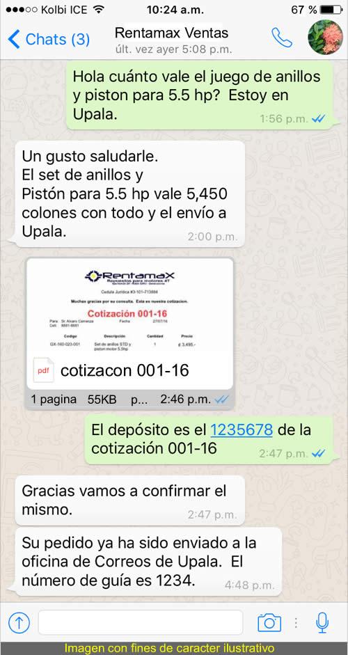 Proceso para comprar en Rentamax por WhatsApp